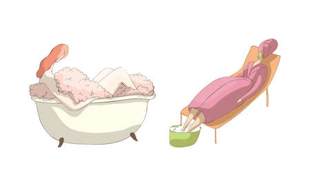 Relaxed Woman Resting in Bathtub with Foam and Soaking Feet in Spa and Wellness Center Vector Set
