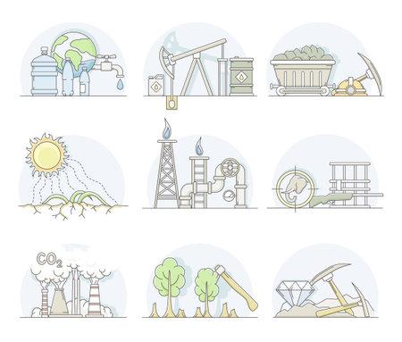 World Resources with Oil Extraction, Deforestation and Mining Line Vector Set Ilustração Vetorial