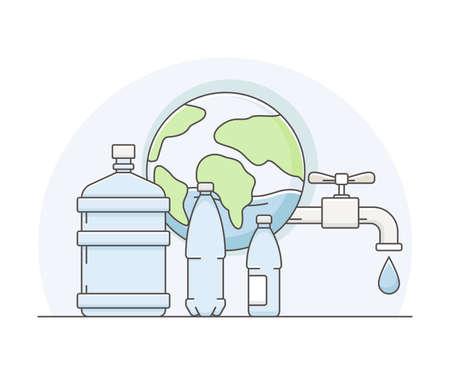World Resource with Water in Plastic Bottle Line Vector Illustration Ilustração Vetorial