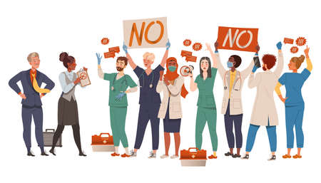 Group Of Dissatisfied People Protesting Holding Placard Defending Their Rights Vector Illustration