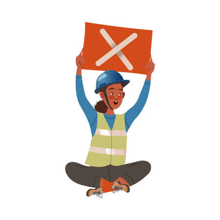 Dissatisfied Woman Worker in Safety Vest Protesting Holding Placard Defending Her Rights Vector Illustration