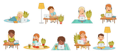 Home Study and Distance Learning with Children In Front of Laptop and Tablet PC Training and Doing Homework Vector Set Vetores