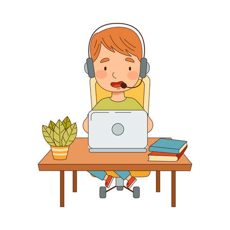 Little Boy at Table with Headphones In Front of Laptop Training and Doing Homework as Home Study and Distance Learning Vector Illustration