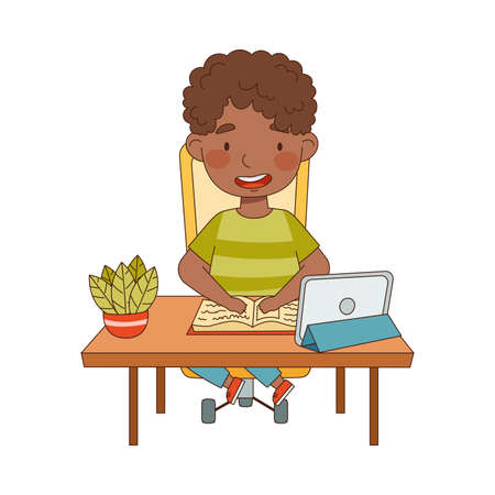 Little African American Boy at Table In Front of Tablet PC Training and Doing Homework as Home Study and Distance Learning Vector Illustration