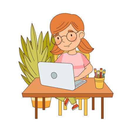 Little Girl at Table In Front of Laptop Training and Doing Homework as Home Study and Distance Learning Vector Illustration