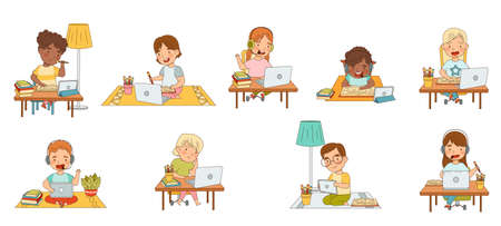 Home Study and Distance Learning with Children In Front of Laptop and Tablet PC Training and Doing Homework Vector Set