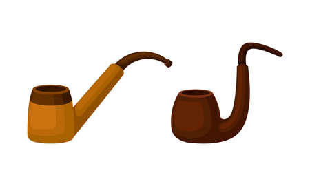 Tobacco Pipe with Chamber, Thin Hollow Stem and Mouthpiece Vector Set