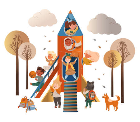 Happy Children Playing with Rocket Peeped Out From Viewing Port and Boarding Big Spaceship Vector Illustration Ilustración de vector