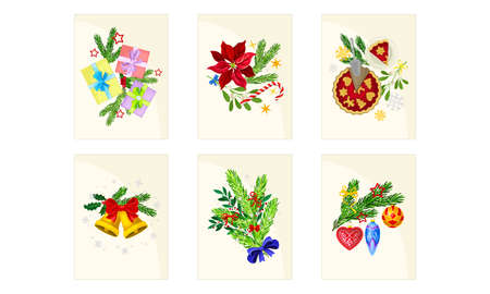 Merry Christmas and Happy Holidays Cards with Fir Tree Branch and Gifts Vector Set