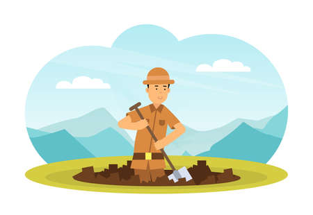 Man Archaeologist with Shovel Searching for Material Remains Vector Illustration Vecteurs