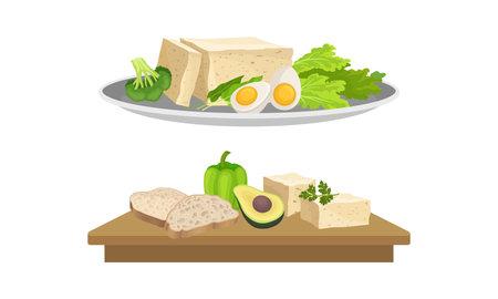 Healthy breakfast set. Tofu, vegetables, eggs and herbs vector illustration Vecteurs