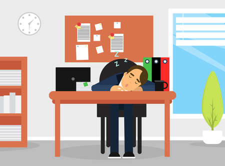 Tired Business Man Character Sleeping Rested His Head on Office Desk Vector Illustration Vector Illustration