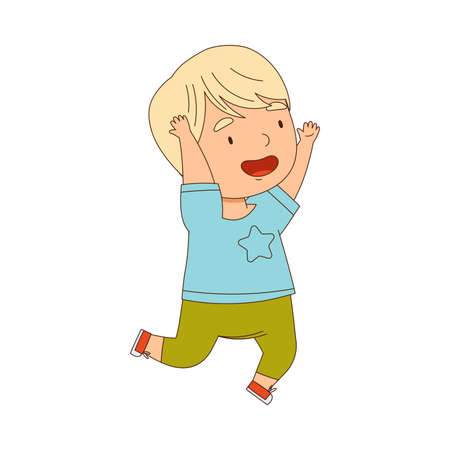 Cheerful Little Boy Running and Rushing at Full Speed Vector Illustration