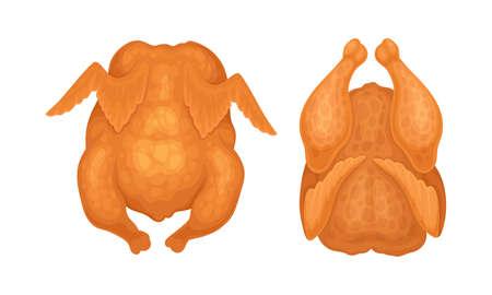 Set of tasty whole fried chiken cartoon vector illustration