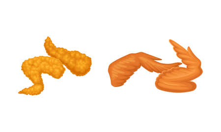 Fried chicken meat set. Crispy wings cartoon vector illustration