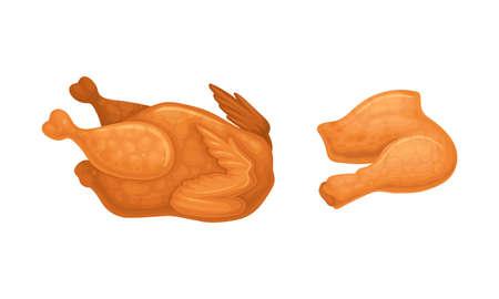 Fried chicken meat set. Tasty whole roast chiken and crispy legs cartoon vector illustration