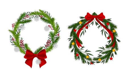 Set of Christmas wreaths with red bow, berries and baubles vector illustration 矢量图像