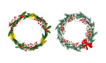 Set of Christmas wreaths decorated with red bow, berries and snowflakes vector illustration