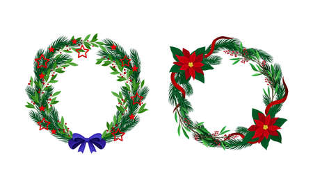 Set of Christmas pine wreaths decorated with bow, flowers and berries vector illustration 矢量图像