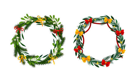 Set of Christmas pine wreaths decorated with yellow and red bows vector illustration 矢量图像