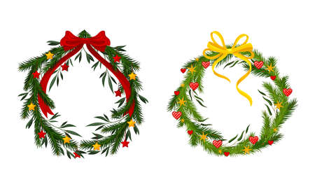 Set of Christmas pine wreaths decorated with yellow and red bows and baubles vector illustration 矢量图像