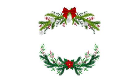 Set of Christmas decoration wreaths with bows and berries vector illustration 矢量图像