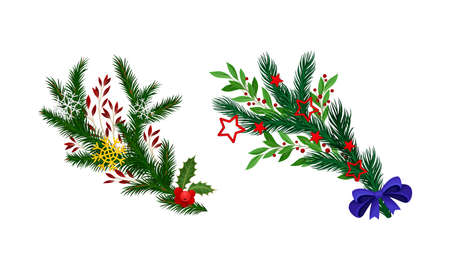 Christmas tree branches decorated with berries and bow set vector illustration