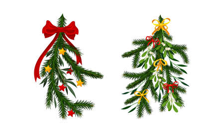 Christmas tree branches decorated with berries, bowa and stars set vector illustration