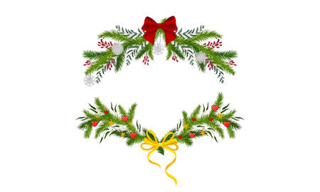 Set of Christmas decoration pine wreaths with bow and holly berries vector illustration