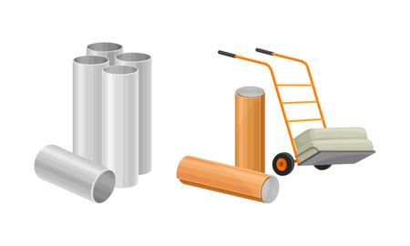 Building construction materials set. Metal pipes, trolley vector illustration 矢量图像