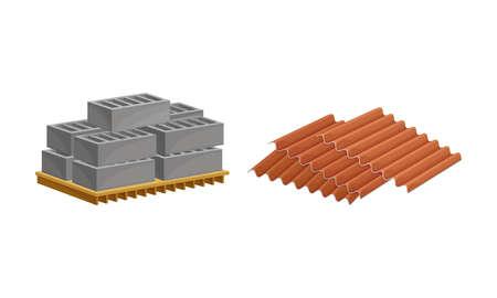 Building construction materials set. Profile of roof tile, pallet of concrete blocks vector illustration