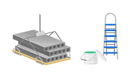Building construction materials set. Concrete panels, stepladder, paint bucket vector illustration