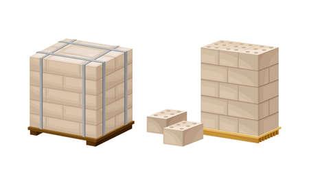Building construction materials set. Pallets of concrete blocks vector illustration