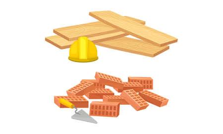Building construction materials set. Wooden timber plank, bricks vector illustration