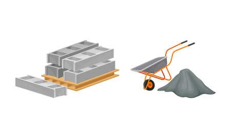 Building construction materials set. Pallet of concrete blocks and wheelbarrow vector illustration 矢量图像