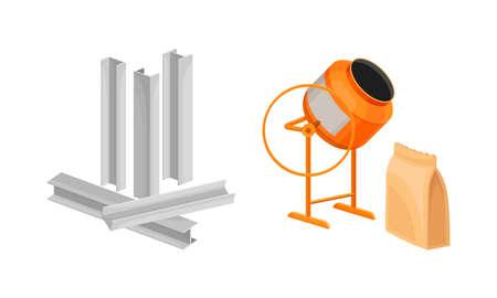 Building construction materials set. Metal reinforcement, concrete mixer vector illustration