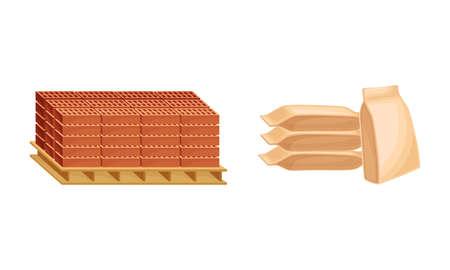 Building construction materials set. Pallets of bricks and concrete sacks vector illustration