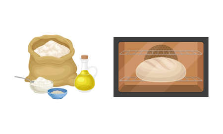 Baking bread process set. Bead baked in oven vector illustration