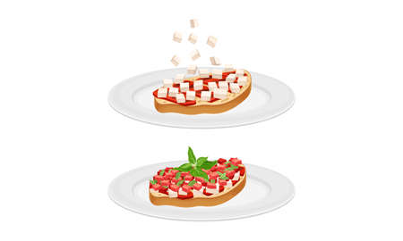 Bruschetta cooking set. Toast bread slices with tomato, cheese and meat ingredients vector illustration
