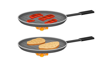 Bruschetta cooking set. Frying of bread and meat slices in pan vector illustration