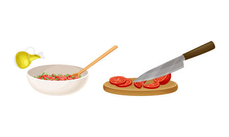 Bruschetta cooking set. Mixing ingredients in bowl and slicing tomatoes on wooden board vector illustration