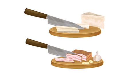 Pasta cooking process set. Slicing ham and cheese on wooden board vector illustration