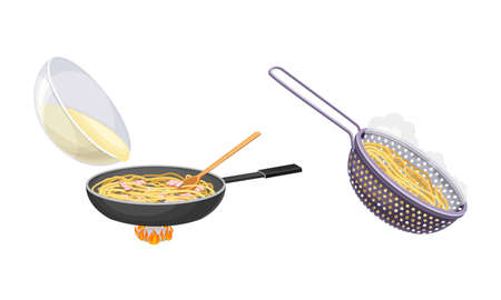 Pasta cooking process set. Pasta in frying pan and colander with noodles vector illustration