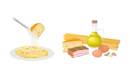 Pasta cooking process set. Italian dish pasta with pesto sauce and cooking ingredients vector illustration