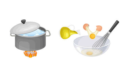 Pasta cooking process set. Boiling pasta in pan and whisking eggs in bowl vector illustration