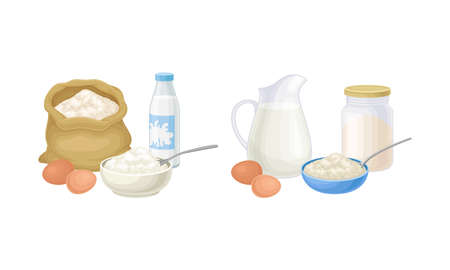 Pancakes cooking process set. Mixing dough step vector illustration