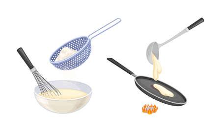 Pancakes cooking process set. Mixing ingredients and frying pancakes in pan vector illustration