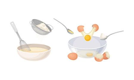 Pancakes cooking process set. Mixing ingredients and dough preparing vector illustration