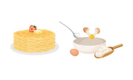 Pancakes cooking process set. Dough preparing and stack of freshly prepared pancakes vector illustration