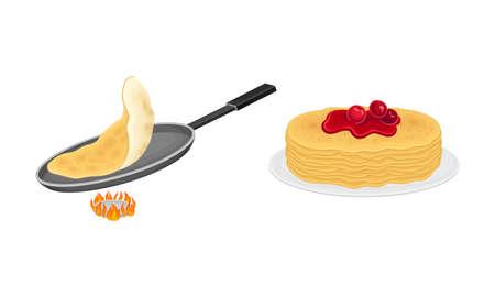 Pancakes cooking process set. Stack of freshly prepared pancakes and frying pan on burner vector illustration 矢量图像